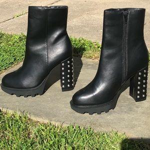 NEW ASOS metallic detailed black chunky bootie